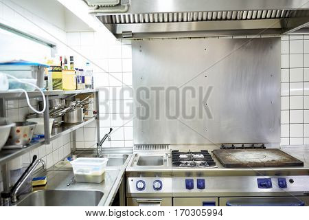 cooking and public catering concept - restaurant professional kitchen equipment