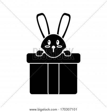 cute rabbit hiding gift box surprise pictogram vector illustration eps 10