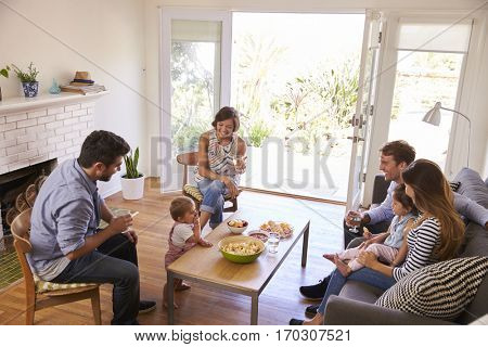 Two Families Getting Together At Home