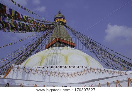 Nepal's Largest Stupa know as Boudhanath which is situated at Boudha, Kathmandu, Nepal