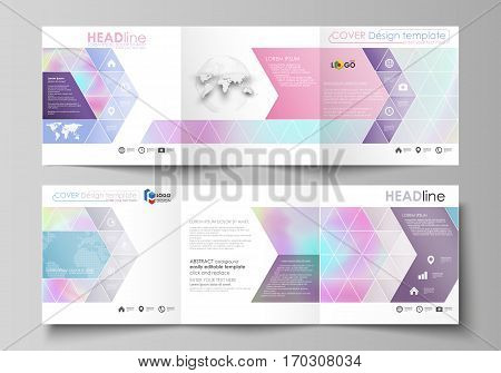 Set of business templates for tri fold square design brochures. Leaflet cover, abstract flat layout, easy editable vector. Hologram, background in pastel colors with holographic effect. Blurred colorful pattern, futuristic surreal texture.