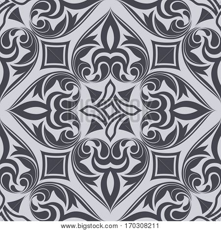 Seamless monochrome abstract diamond ornament pattern.