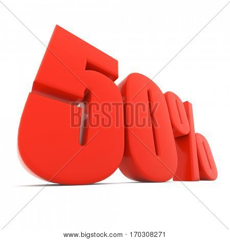 Red 50% discount sign isolated on white background. 3D rendering.
