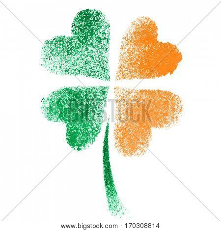 Stenciled four leaf Irish clover with colors of the Ireland flag