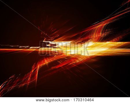 Abstract background element. Fractal graphics. Three-dimensional dynamic composition of glowing artifacts. Red on black colors.
