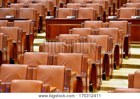 Office executive board leather chairs in front of wooden table