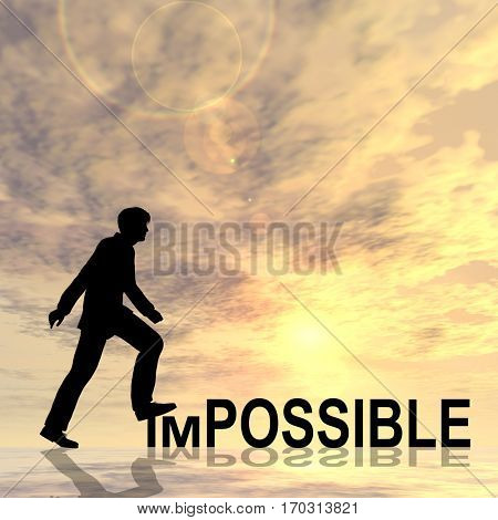 Concept or conceptual 3D illustration human man or businessman black silhouette on impossible or possible text at sunset metaphor to success, challenge, motivation, achievement, business, goal, hope