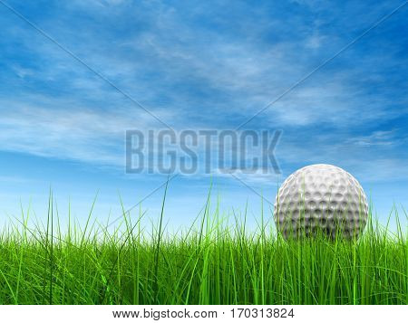 Green, fresh and natural 3D illustration conceptual sport grass over sky background with golf ball at horizon club, sport, business, recreation, play, summer, competition, competition, game fun design