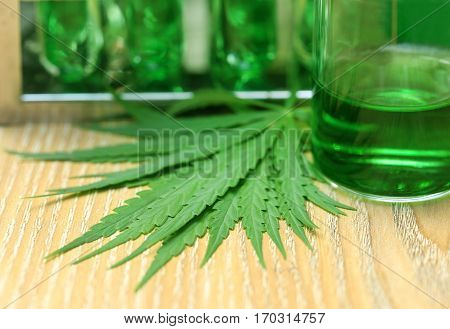 Closeup of Cannabis leaves in laboratory for research