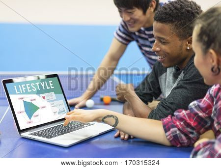 Table Tennis Players Using Laptop