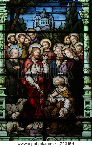 Jesus and his followers are beautifully depicted in this turn of the last century stained glass poster