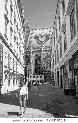 VIENNA, AUSTRIA-July 3, 2014 : Tourists on foot Graben Street in Vienna on July 3, 2014.Vienna is Austria's primary city, with a population of about 1.757 million.