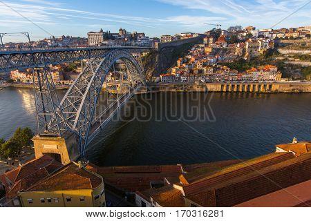 Dom Luis I iron bridge over Douro river at Porto, Portugal.