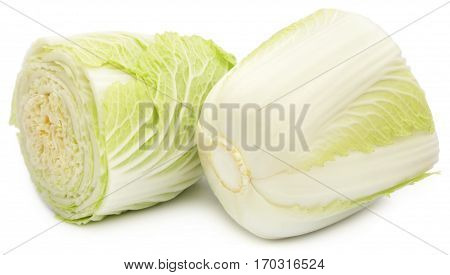 Closeup of Chinese cabbage over white background