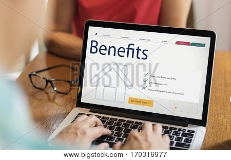 People using Laptop about Benefit Claim Security