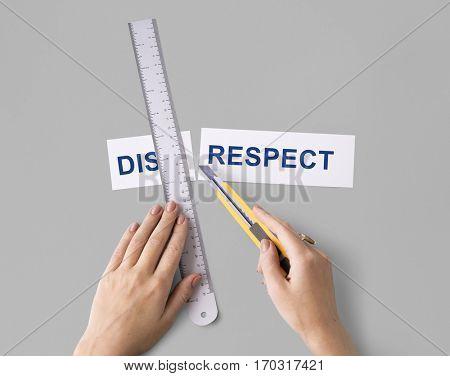 Disrespect Hands Cut Word Split Concept