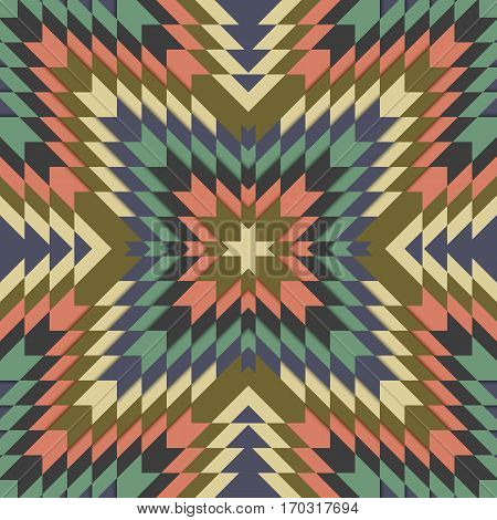 Seamless tribal pattern, geometrical ornament in ethno syle, ethnic hipster backdrop, vintage fashion design background