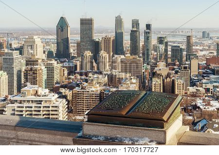Montreal Skyline In Winter And Commemorative Jacques Cartier Plaque Located On The Balustrade Of The
