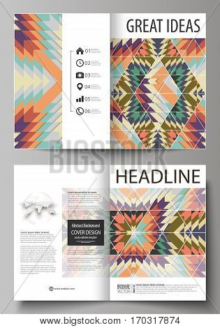 Business templates for bi fold brochure, magazine, flyer, booklet or annual report. Cover design template, easy editable vector, abstract flat layout in A4 size. Tribal pattern, geometrical ornament in ethno syle, ethnic hipster backdrop, vintage fashion