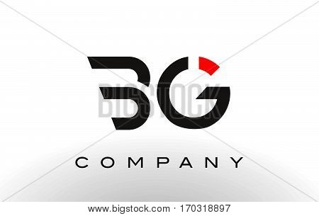 BG Logo. Letter Design Vector with Red and Black Colors.