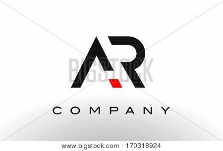 AR Logo. Letter Design Vector with Red and Black Colors.