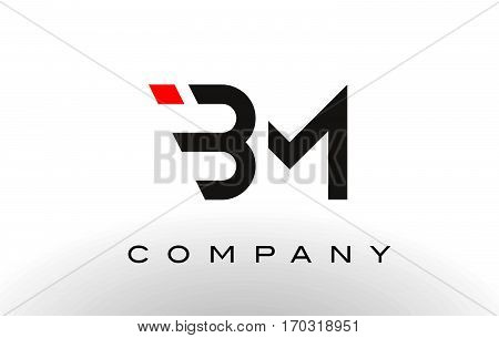 BM Logo. Letter Design Vector with Red and Black Colors.