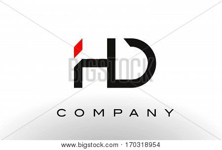 HD Logo. Letter Design Vector with Red and Black Colors.