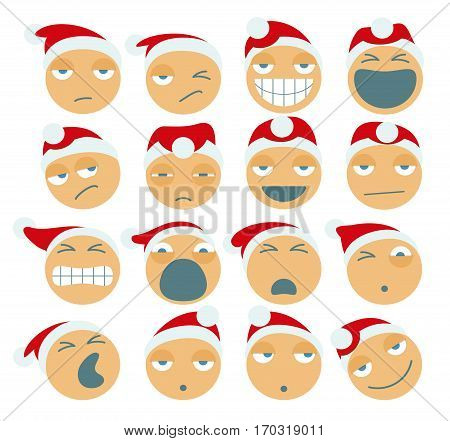 Set Of Santa Claus Cartoon Figures. Vector.