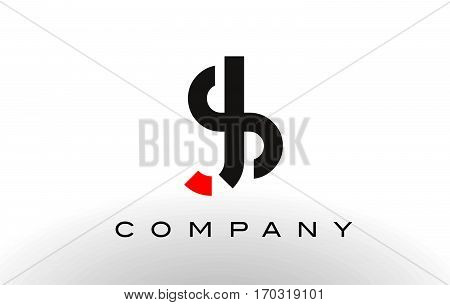 SJ Logo. Letter Design Vector with Red and Black Colors.