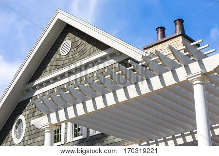 Close up beach house with pergola