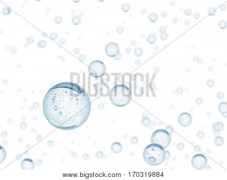 Water bubbles 3d rendering background. Isolated on white.