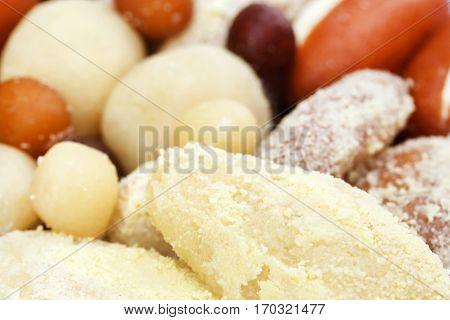Close up of popular india Bangladeshi sweetmeats
