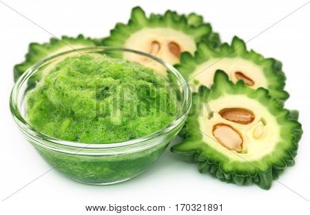 Juicy green momodica used as herbal treatment