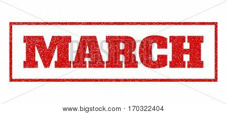 Red rubber seal stamp with March text. Vector tag inside rectangular shape. Grunge design and scratched texture for watermark labels. Scratched sign.