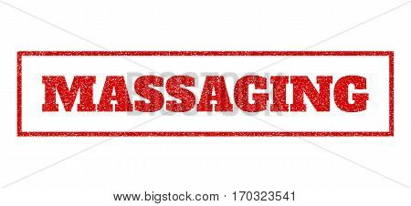 Red rubber seal stamp with Massaging text. Vector message inside rectangular shape. Grunge design and scratched texture for watermark labels. Scratched emblem.
