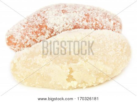 Close up of Delicious Bangladeshi chamcham over white background