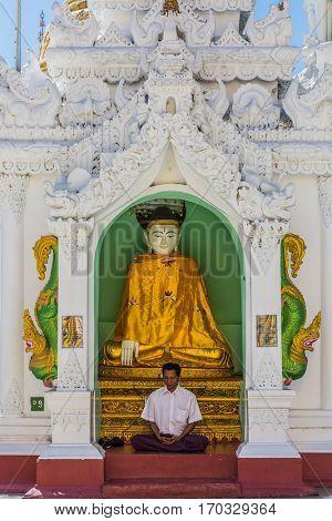YANGON, MYANMAR - DECEMBER 16, 2016 : man praying at Shwedagon Pagoda Yangon in Myanmar