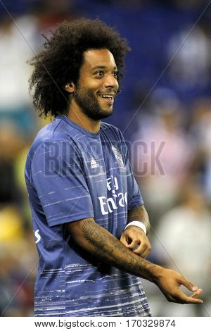 BARCELONA, SPAIN - SEPT, 18: Marcelo Vieira of Real Madrid before a Spanish League match against RCD Espanyol at the RCDE Stadium on September 18 2016 in Barcelona Spain