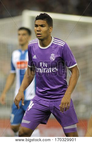 BARCELONA, SPAIN - SEPT, 18: Carlos Henrique Casemiro of Real Madrid of during a Spanish League match against RCD Espanyol at the  RCDE Stadium on September 18 2016 in Barcelona Spain