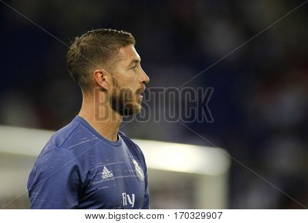 BARCELONA, SPAIN - SEPT, 18: Sergio Ramos of Real Madrid before a Spanish League match against RCD Espanyol at the RCDE Stadium on September 18 2016 in Barcelona Spain