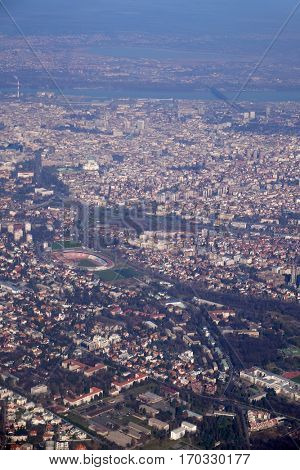BELGRADE, SERBIA - FEBRUARY 06: Aerial view of Belgrade, capital of Serbia, on February 06, 2016.