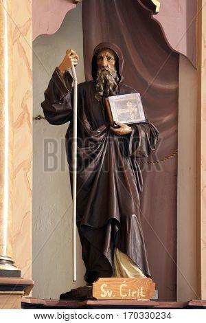 MARTINSKA VES, CROATIA - JUNE 03: Statue of Saint Cyril on the altar in Parish Church of Saint Martin in Martinska Ves, Croatia on June 03, 2011.