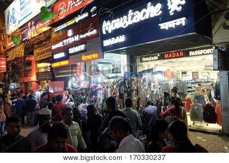 KOLKATA, INDIA - FEBRUARY 07: Night time shopping near New Market in Kolkata, India on February 07, 2016.