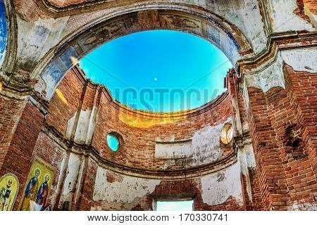 Destroyed Dome of the Orthodox church in the village of Lenino in Belarus, Gomel region, Dobrush district