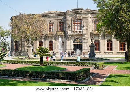 MEXICO CITY,MEXICO - DECEMBER 27,2016 : Chapultepec Castle, home of the National History Museum in Mexico City