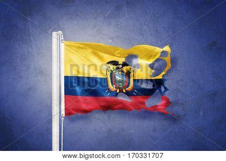 Torn flag of Ecuador flying against grunge background.