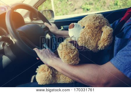 Cute Bear Doll Companion On Lap While Driving Car, Man Together Lovely Bear Doll Gift Inside Car
