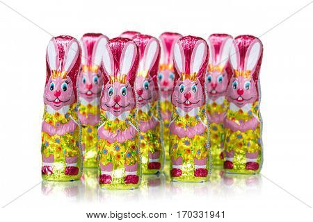 Chocolate Easter bunny figure. Easter chocolate rabbit figurines. Isolated on white background