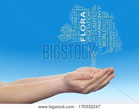 Concept or conceptual black ecology text word cloud tree in man or woman hand on blue sky background for nature, ecology, green, energy, natural, life, world,  global, protect, environmental recycling