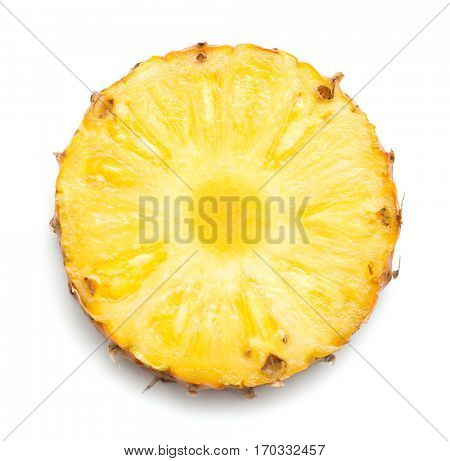 Pineapple slice on white background